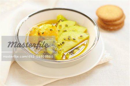 Saffron-flavored winter fruit salad
