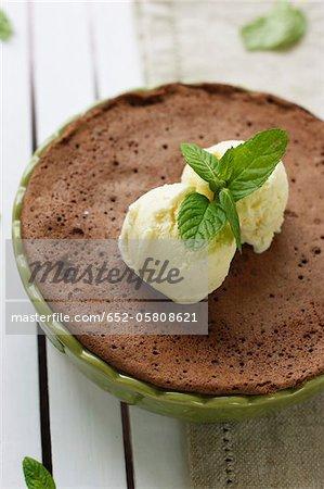 Chocolate and mint cake with vanilla ice cream