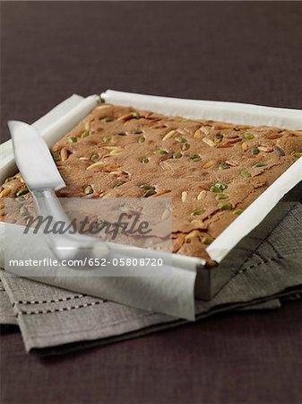 Chocolate,pine nut and pistachio brownie