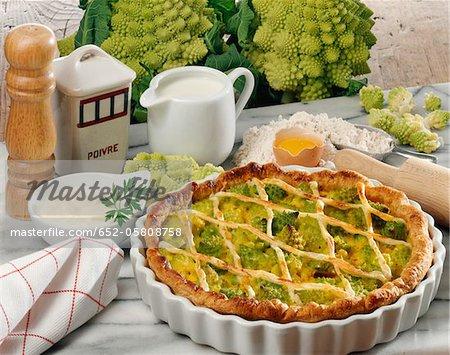 Romanesco cabbage savoury tart