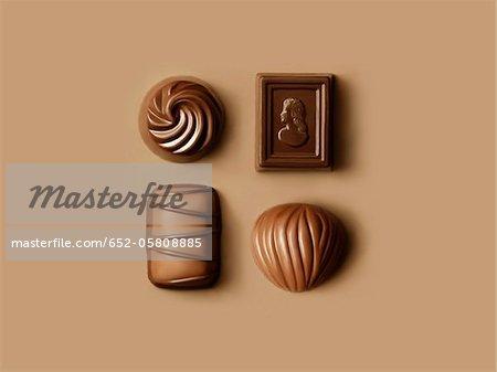 Four assorted chocolates