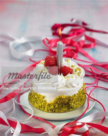 Panacotta, pistachio and raspberry birthday cake