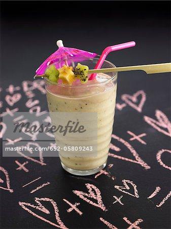 Banana,kiwi,honeydew melon,date and oat milk shake
