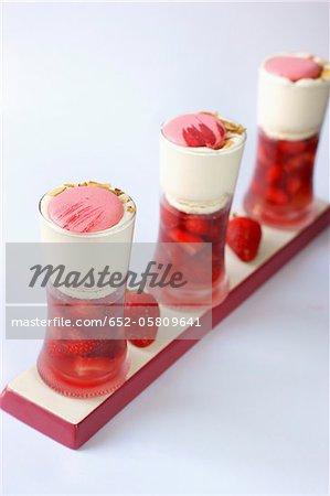 Strawberry,macaroon and whipped cream Verrines