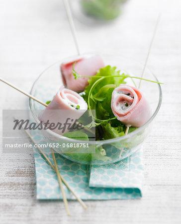 Boiled ham rolls with lettuce salad