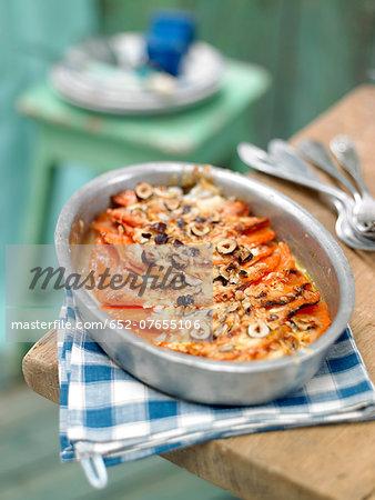 Pumpkin and hazelnut gratin