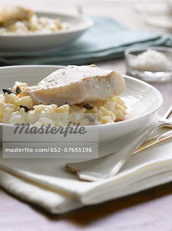 Pollock with truffle risotto