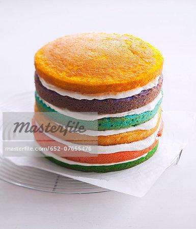 Layered sponge and cream cake