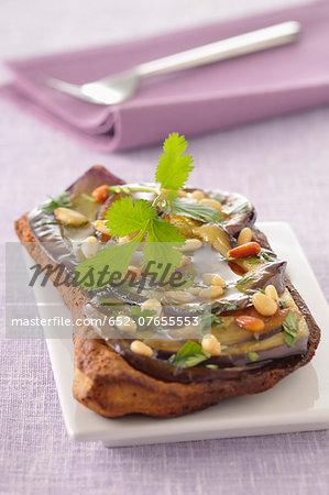 Grilled eggplant and pesto tatin tart