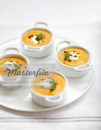 Cream of pumpkin soup with caraway