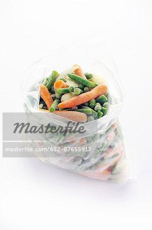 Bag of frozen spring vegetables