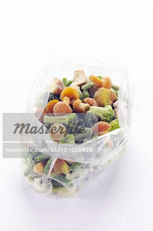 Bag of mixed frozen vegetables
