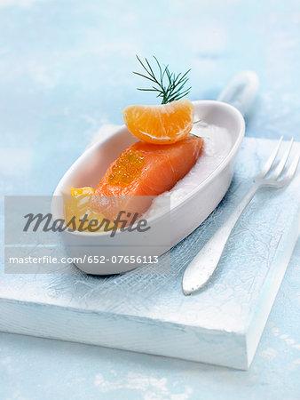 Salmon with mandarin puree and coconut puree