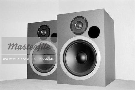 Pair of silver speakers