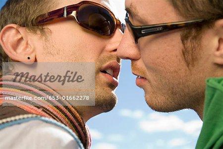 Two Gay Men Kissing Stock Photo Masterfile Premium Royalty