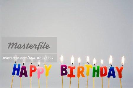 Candles spelling 'Happy Birthday'
