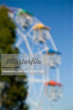 Blurred view of a ferris wheel