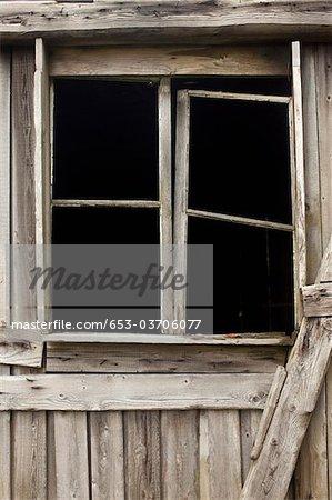 An old broken window frame