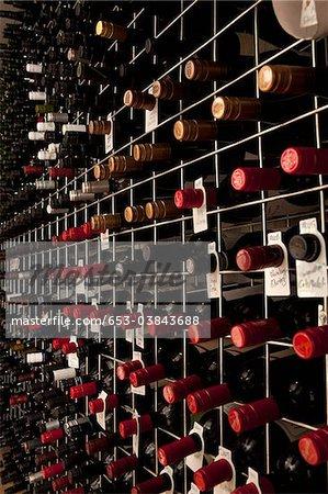 Bottles of wine in a cellar