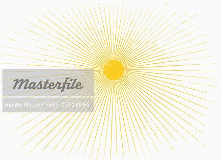 Illustrative image of sun shining against white background