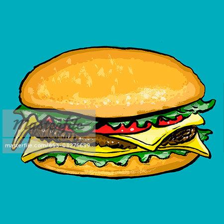 Illustration of burger against blue background