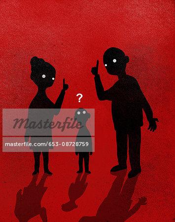 Illustration of parents explaining to boy against red background