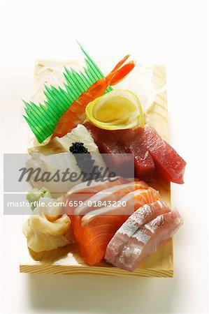 Sashimi with salmon and tuna