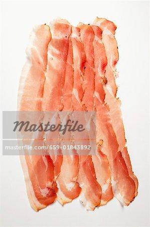 Slices of raw ham