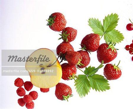 Strawberries, Raspberrys, Currants & Apple