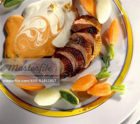 Roast duck breast with mayonnaise balsamic vinegar sauce
