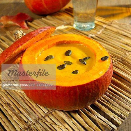 Styrian pumpkin soup in a pumpkin