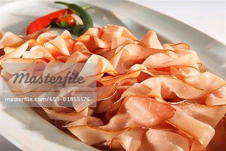 Platter of smoked ham