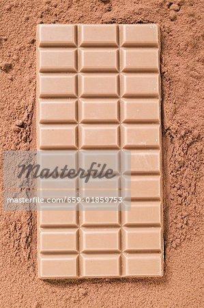 A bar of milk chocolate on cocoa powder