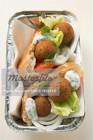 Falafel (chick-pea balls) in flatbread to take away