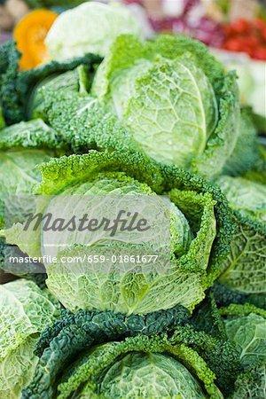 Fresh savoy cabbage at a market