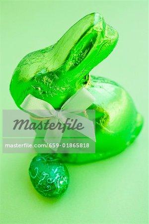 Green Easter Bunny and chocolate egg