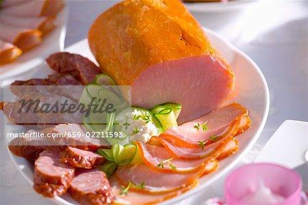 Smoked ham and sliced sausage (Easter, Poland)