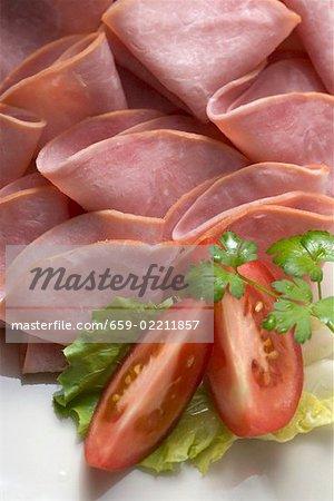 Many slices of ham (detail)