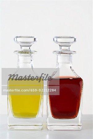 Olive oil and vinegar in small glass bottles