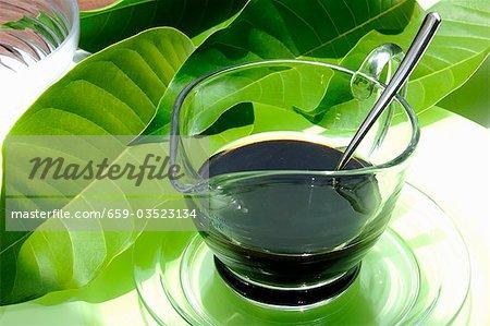 Balsamic vinegar in a small glass jug
