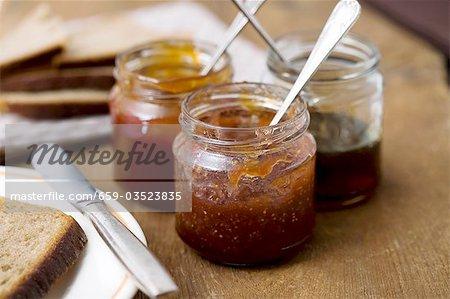 Fig jam and honey in jam jars
