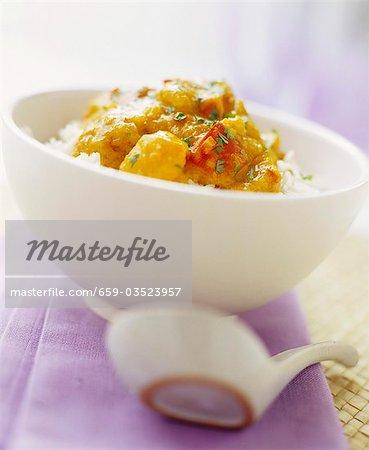 Oriental pumpkin stew on rice