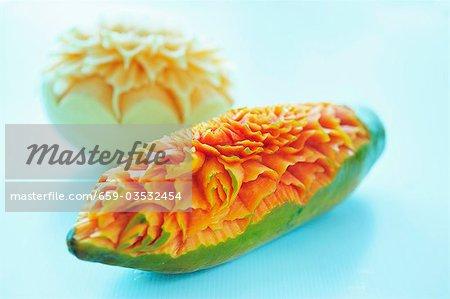 Carved melon and papaya, Thailand