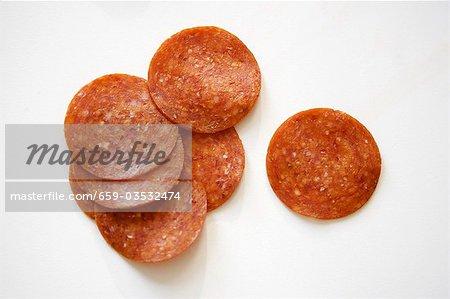 Pepperoni Slices on White Background