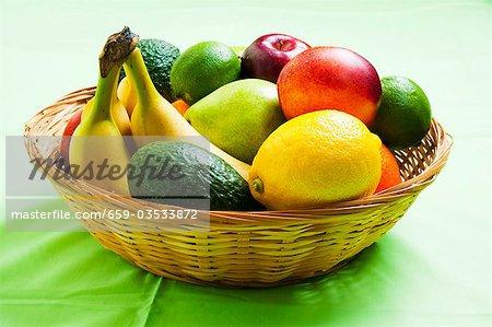 Basket of assorted fruit