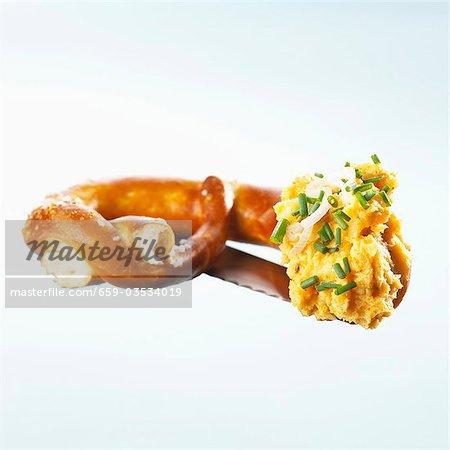 Pretzel with obatzda (Camembert spread)