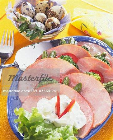 Platter of ham with vegetables & tartar sauce, quails' eggs