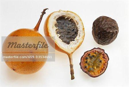 Golden passionfruit & purple passionfruit, whole & halved