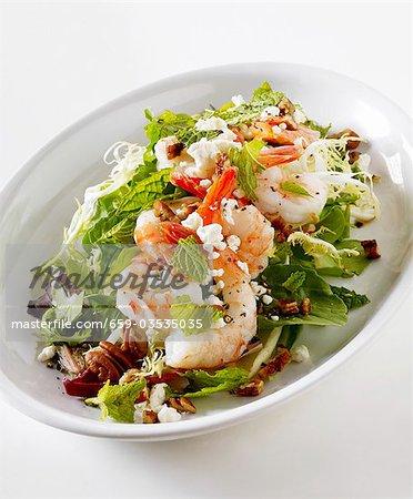 Shrimp Salad with Feta, Walnuts and Mixed Greens
