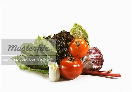 Raw Vegetable Still Life on White Background